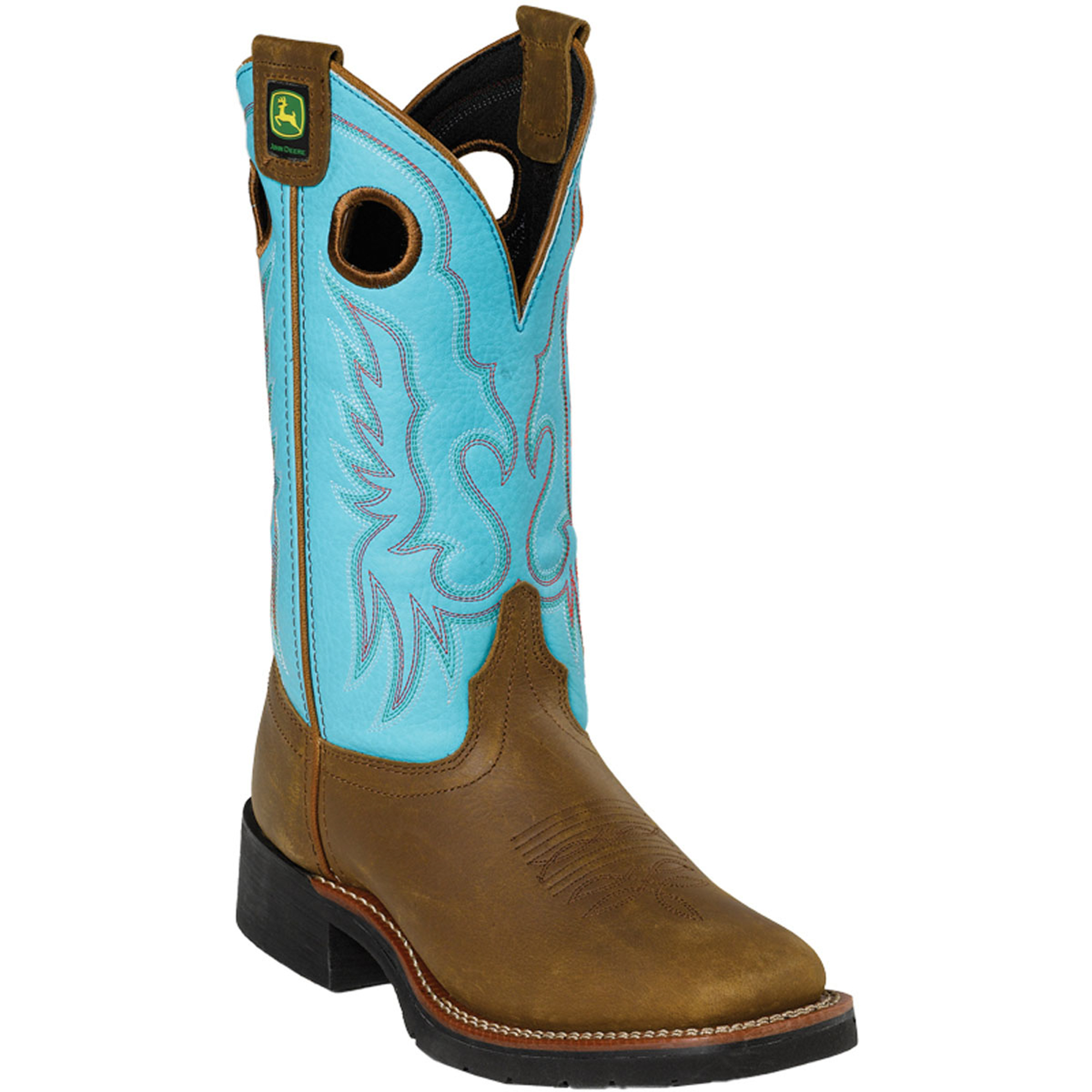 deere womens turquoise leather 11 broad square toe
