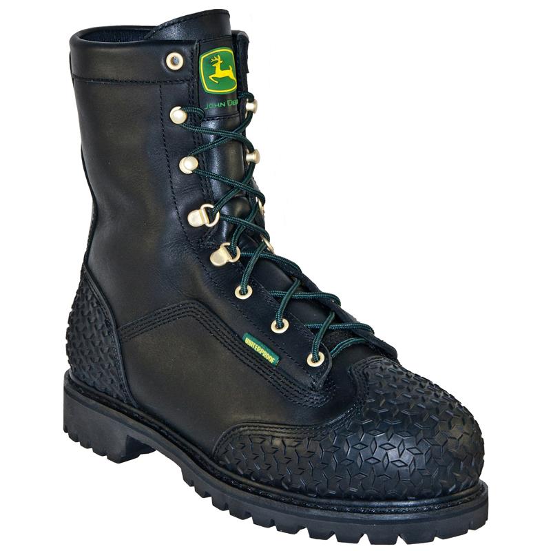 deere mens black leather 9 quot waterproof steel toe lace
