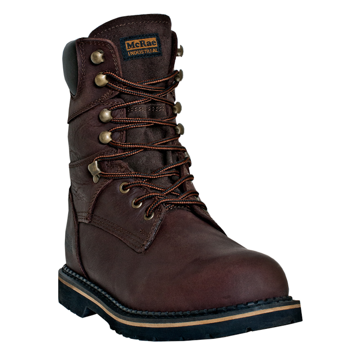 mcrae industrial mens brown leather 8in lace up soft toe