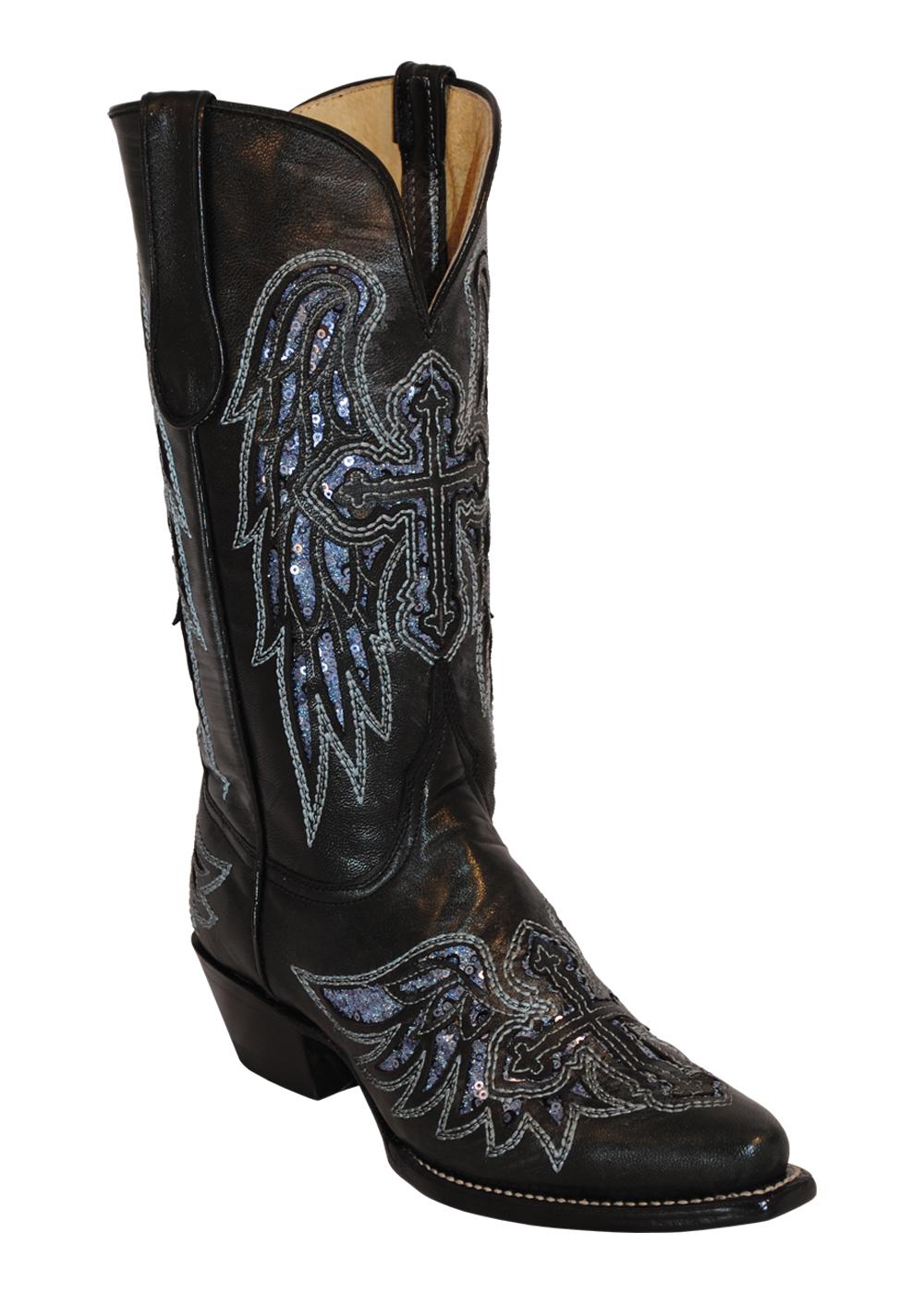 womens ferrini black laser wings cross leather v toe