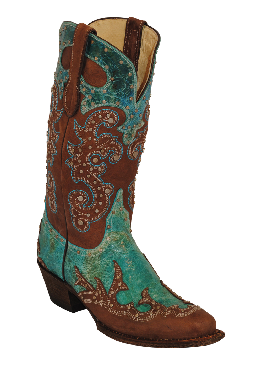 womens ferrini brown chocolate country turquoise v