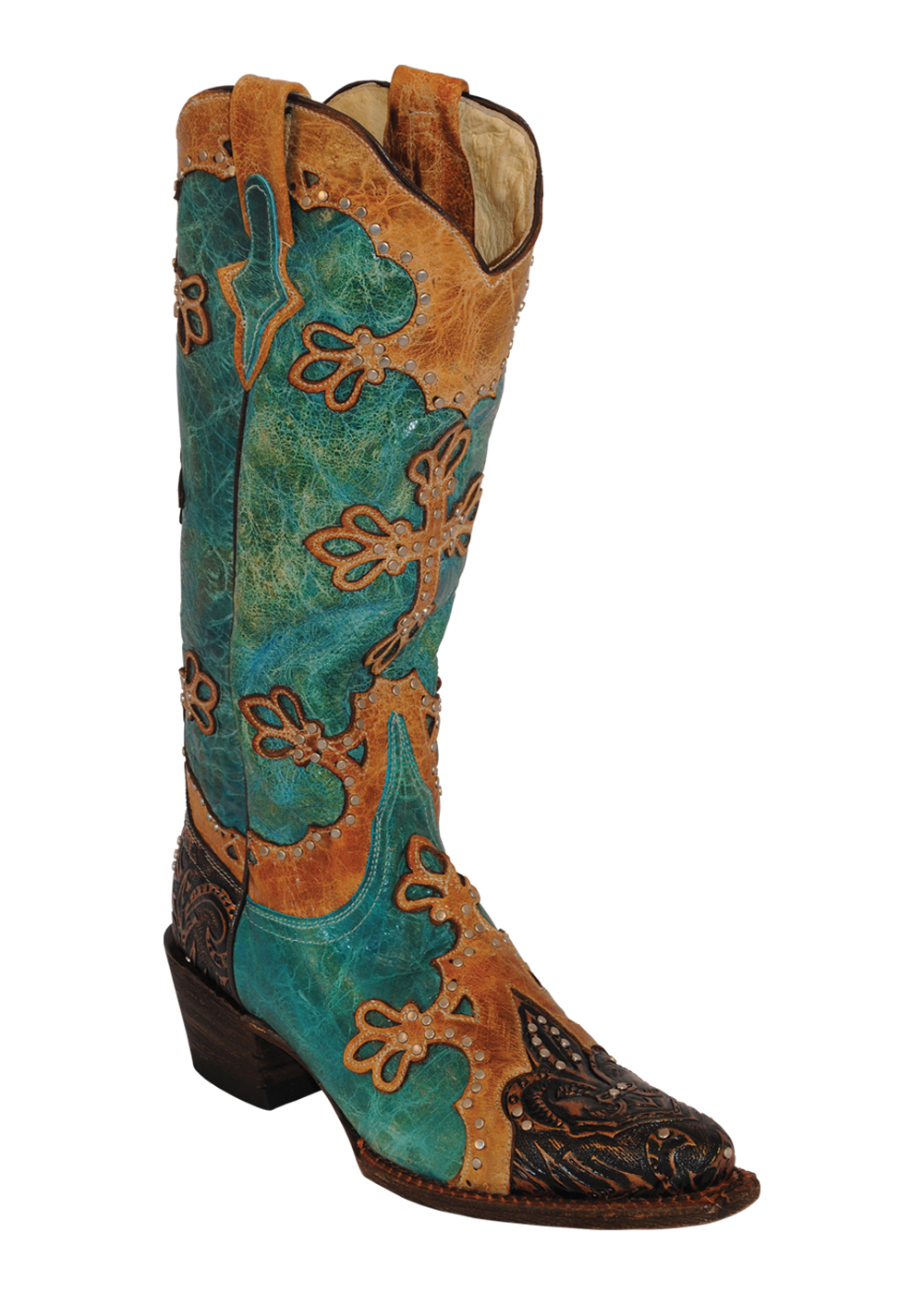 womens ferrini brown embossed turquoise cross v toe