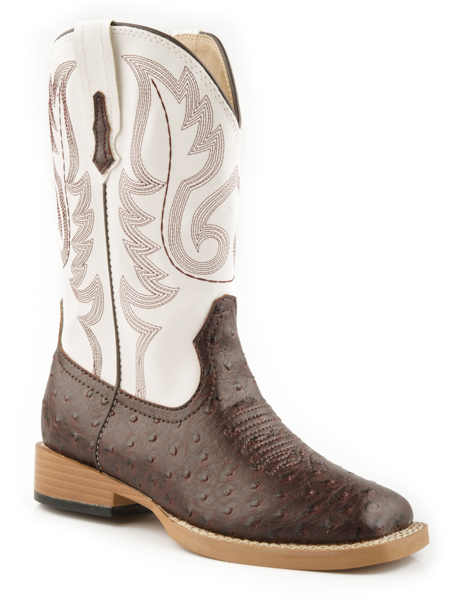 roper boys square toe brown faux ostrich leather