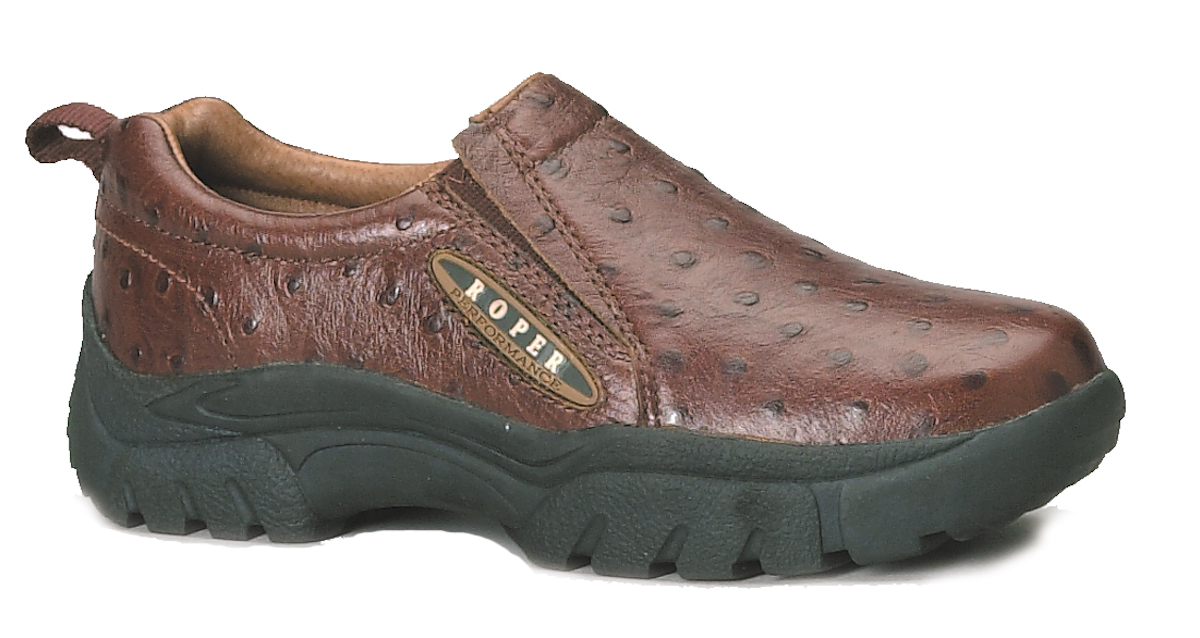 roper mens performance sport slipon brown faux ostrich