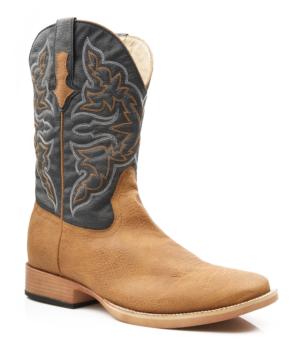 roper mens square toe faux leather western cowboy boots ebay