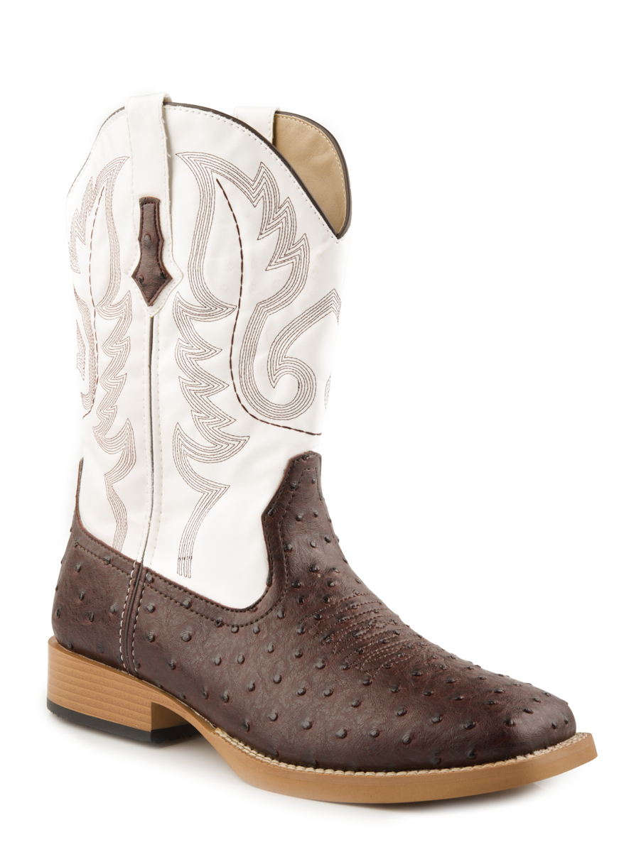 roper mens square toe brown faux ostrich leather western