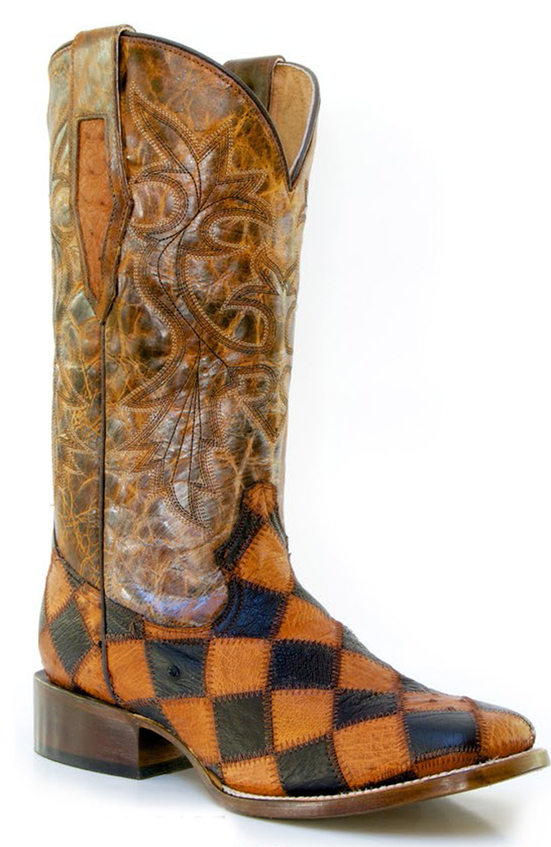 roper mens square toe ostrich skin patchwork cowboy