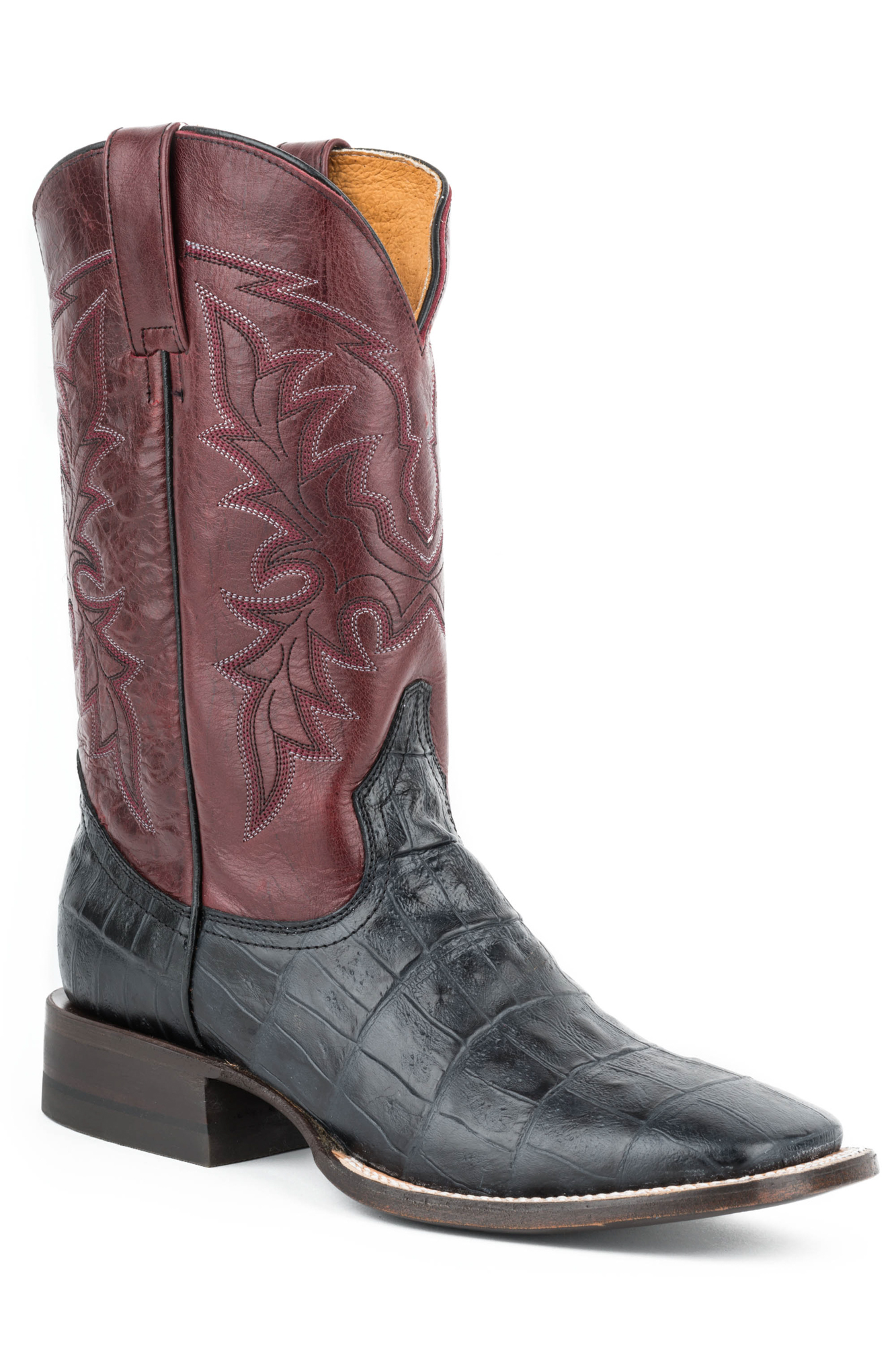 roper boots mens black leather square toe kamon caiman cowboy