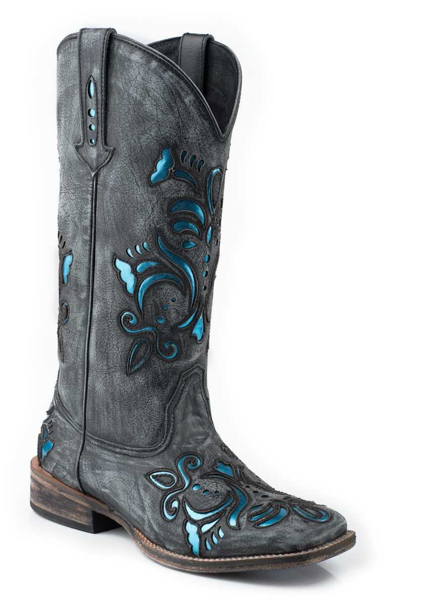 roper womens cowboy boots black square toe sanded leather