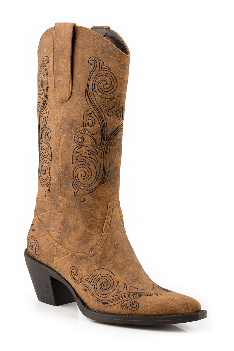 roper cowboy boots womens 12 faux leather embroidered