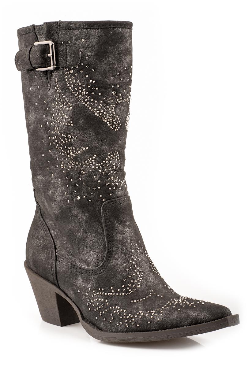 roper womens cowboy boots black faux leather suede 13