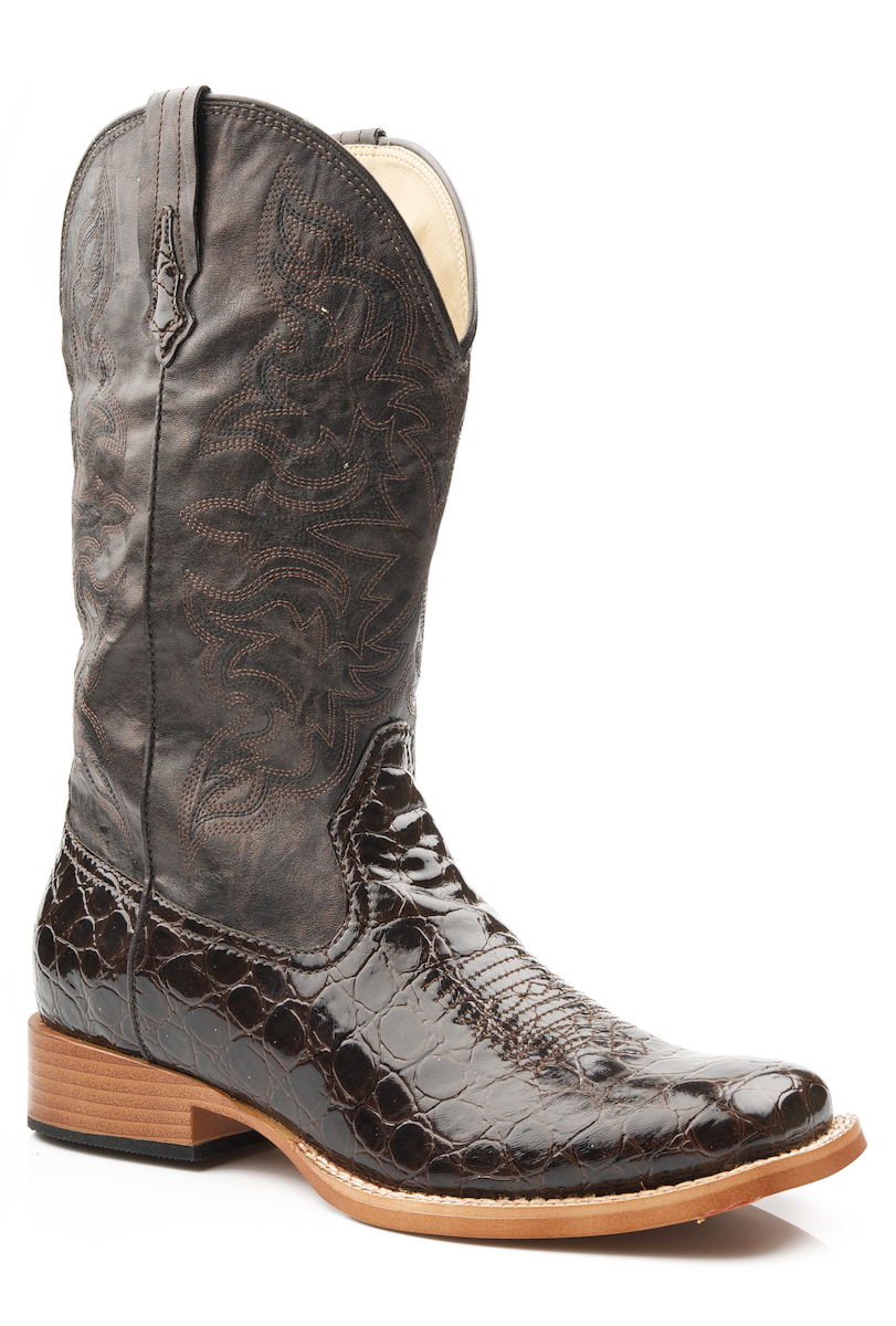 Fantastic  Lizard Cowboy Boots  Leather Square Toe For Women In Chestnut