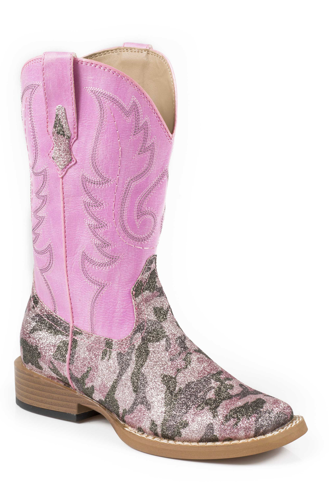 About roper pretty camo ladies pink faux leather glitter cowboy boots