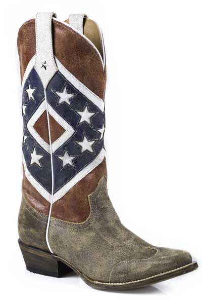 Womens americana collection rebel flag snip toe leather cowboy boots