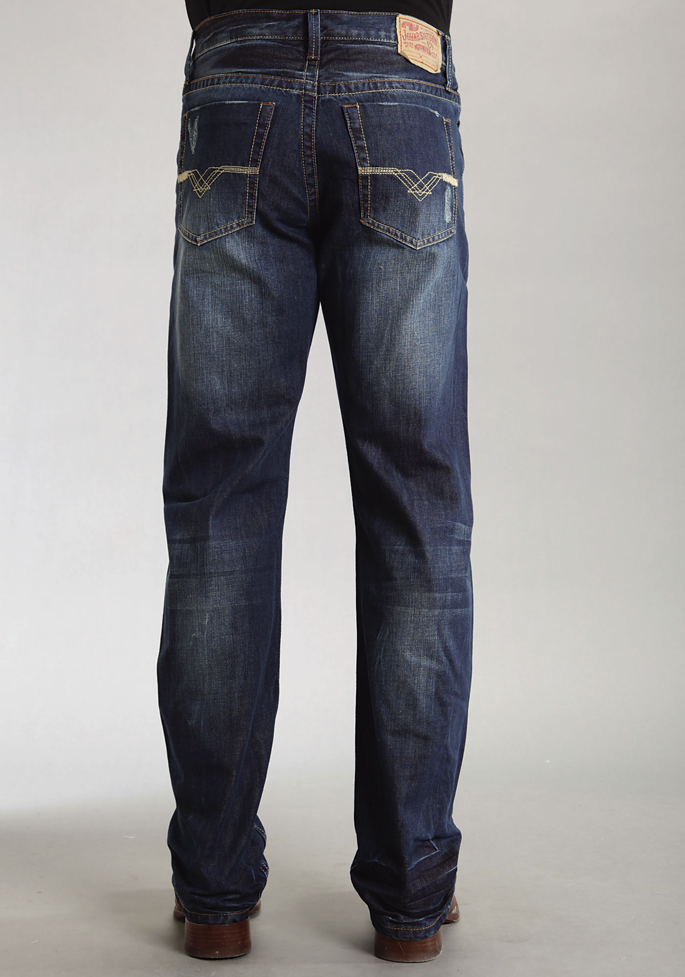 mens stetson blue 100 cotton deco pocket modern fit bootcut jeans ebay. Black Bedroom Furniture Sets. Home Design Ideas
