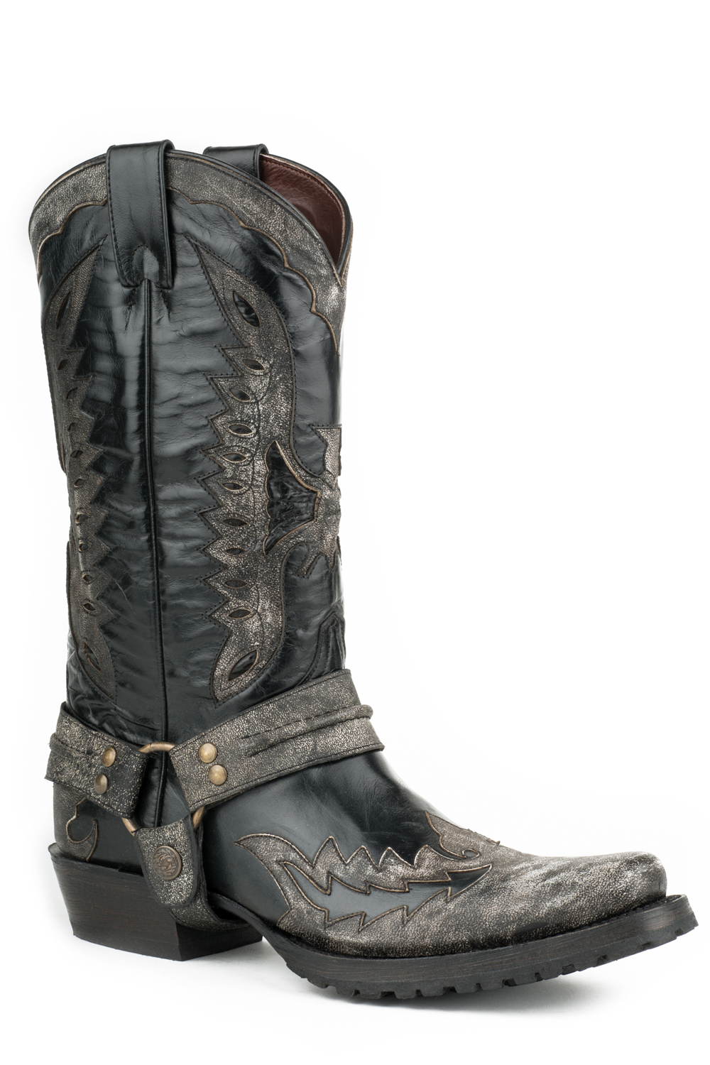 stetson outlaw eagle biker mens black leather distressed
