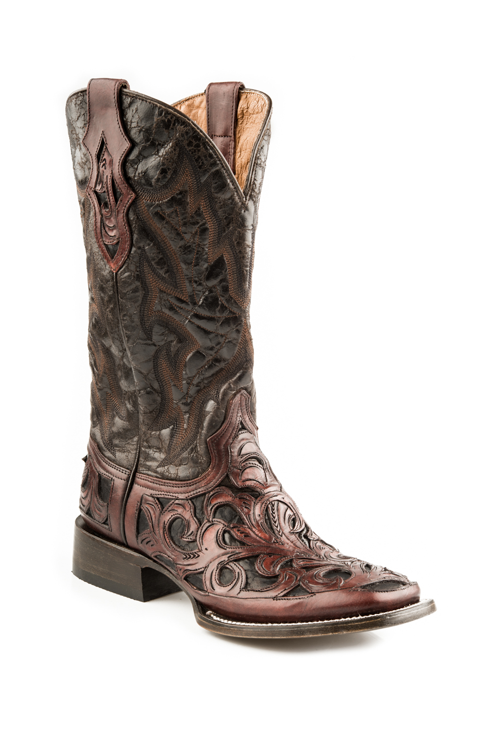 """Stetson Mens 11"""" Handtooled Overlay Vamp Western Cowboy Boots at Sears.com"""