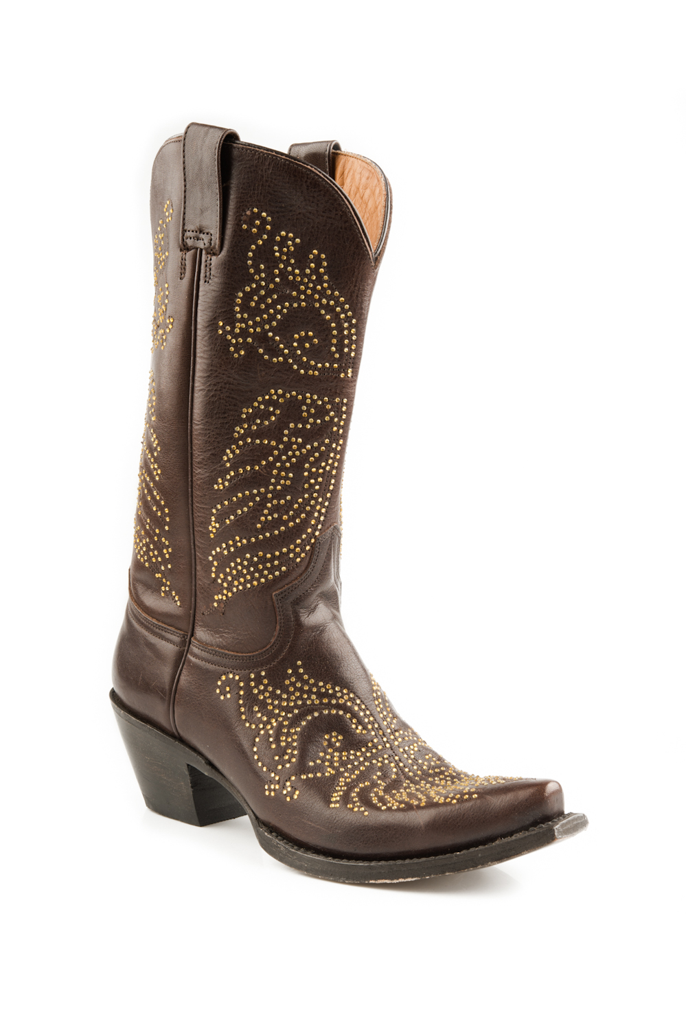 stetson womens 13 quot overlay brown leather western