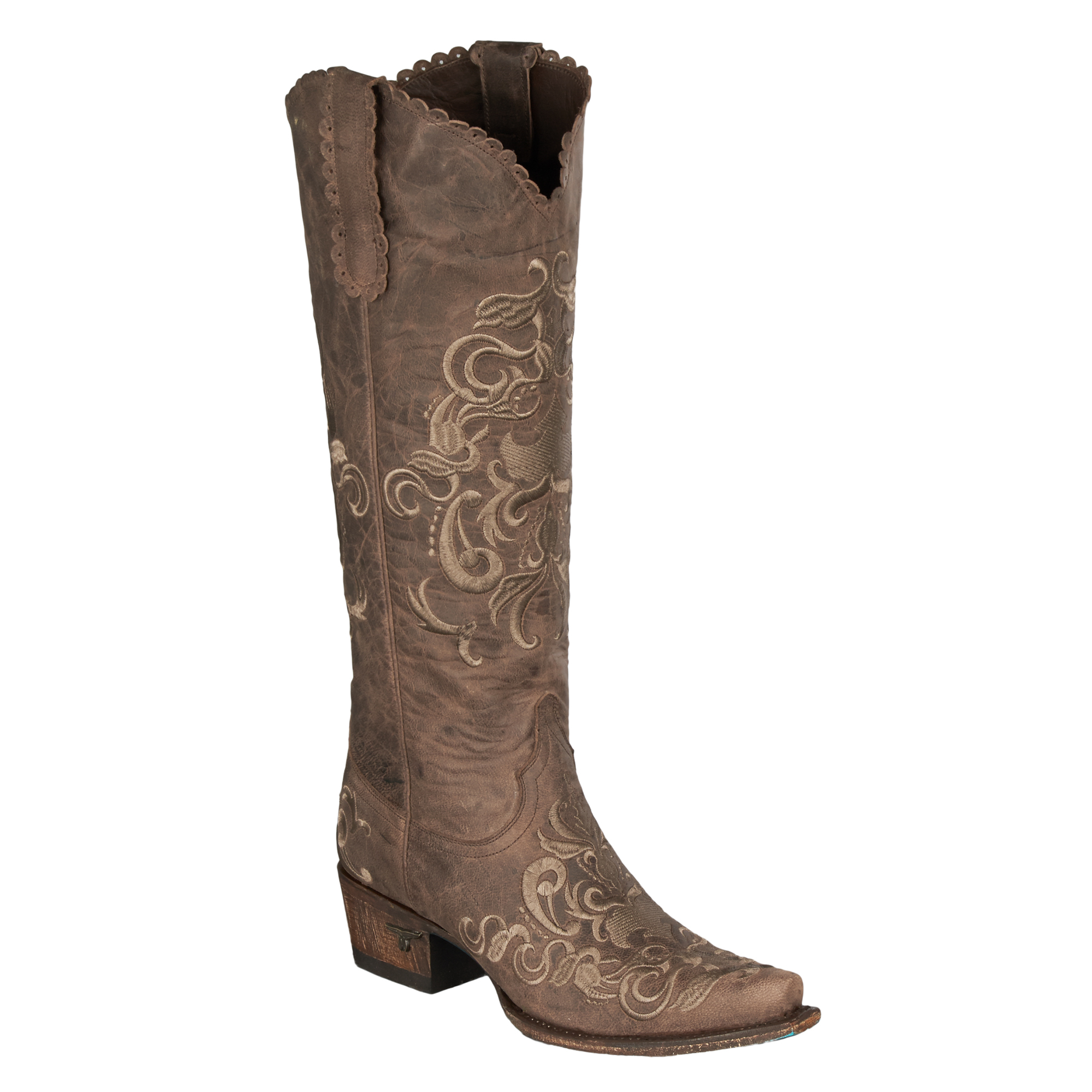 boots womens leather embroidered brown