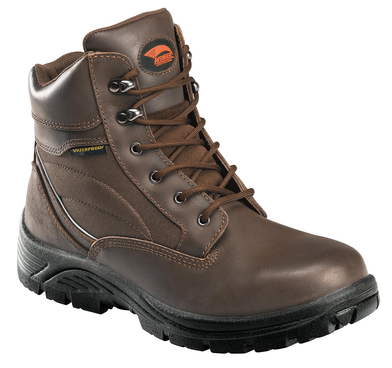 avenger mens steel toe waterproof eh boot w brown leather
