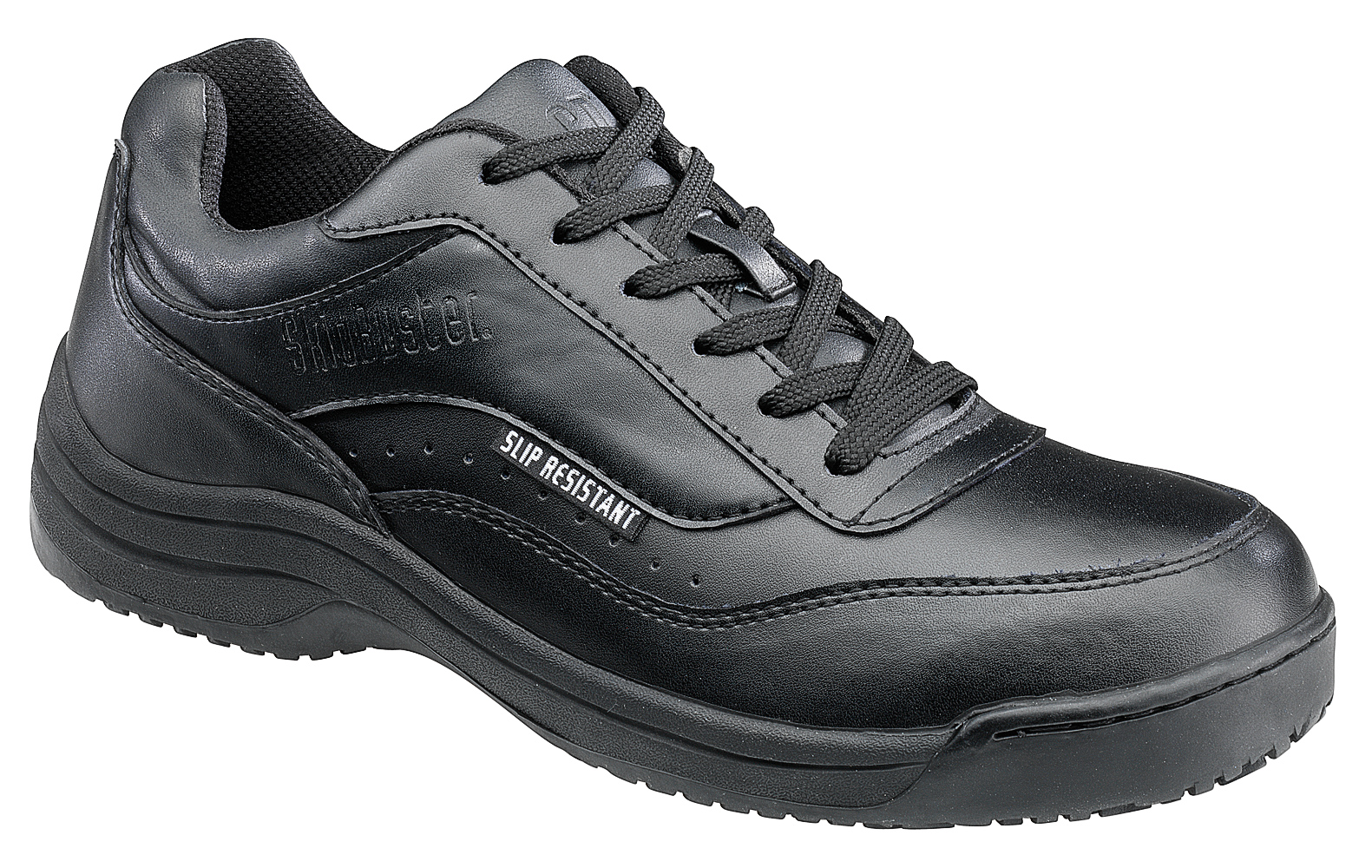 skidbuster mens slip resistant athletic w black leather shoes