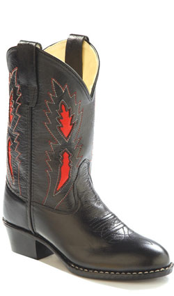 Old West Childrens Boys Leather Underlay Round Toe Cowboy Boots at Sears.com