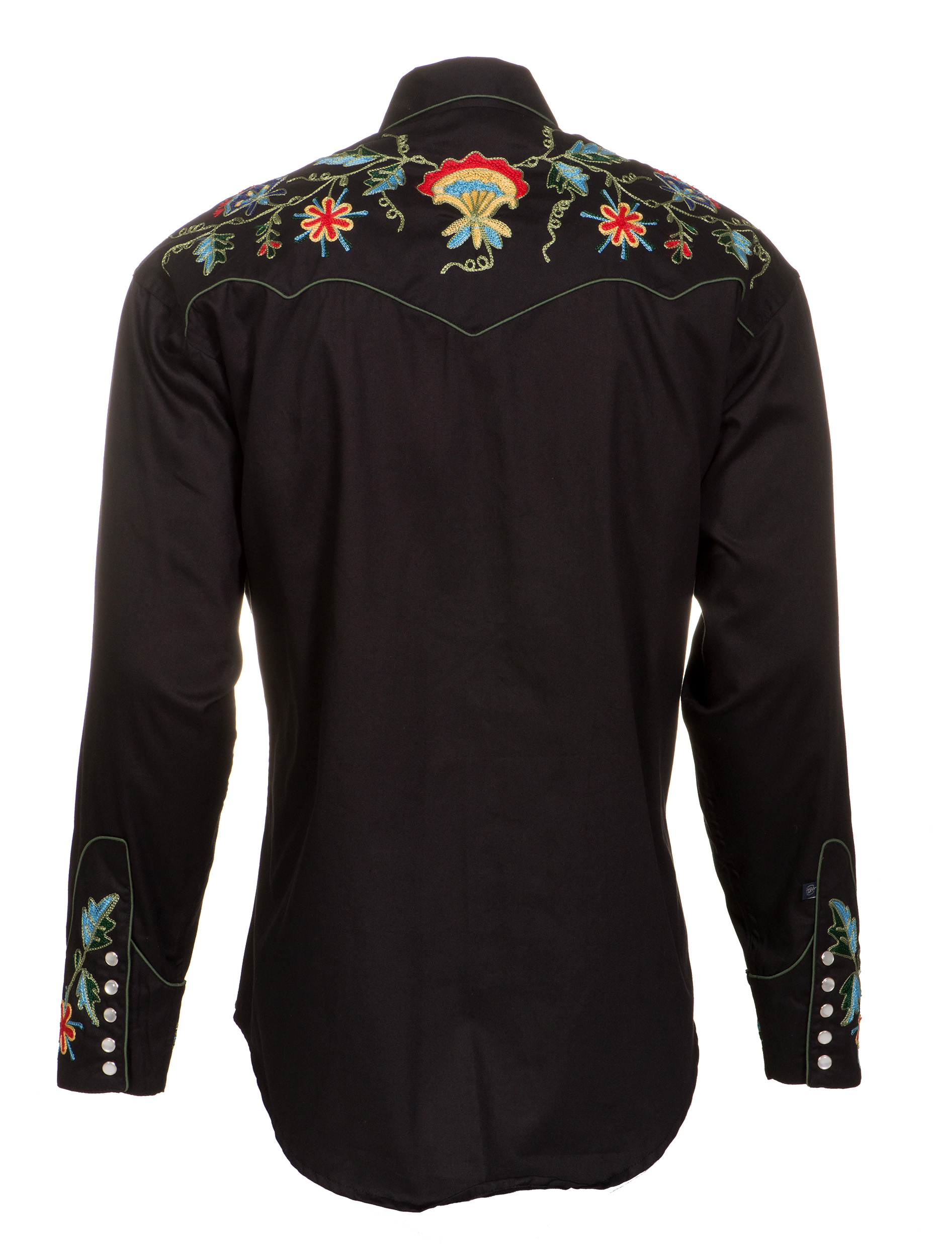 Rockmount Mens Black 100 Cotton L S Western Shirt Multi