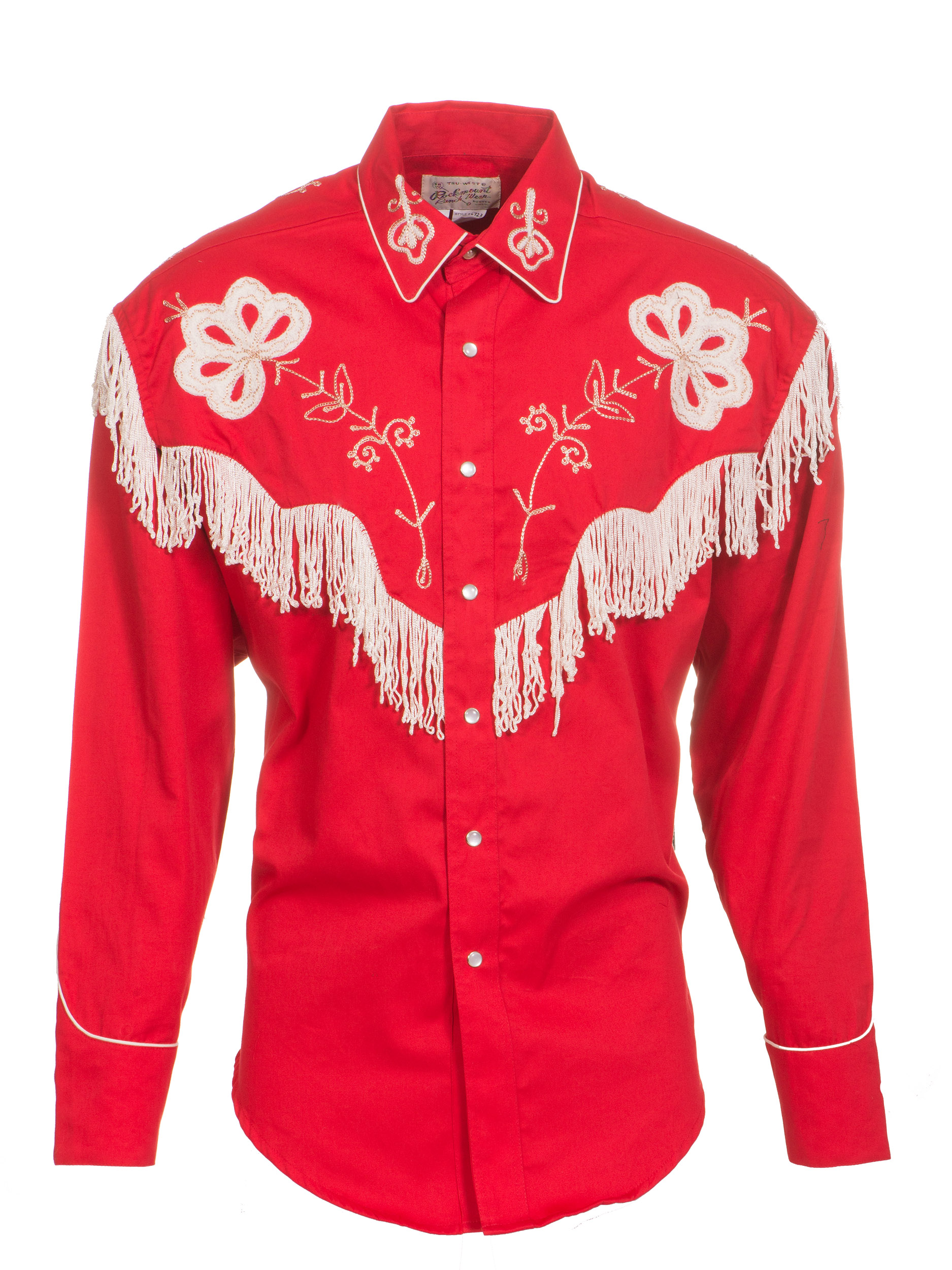 Rockmount Mens Red 100 Cotton L S Western Shirt Floral