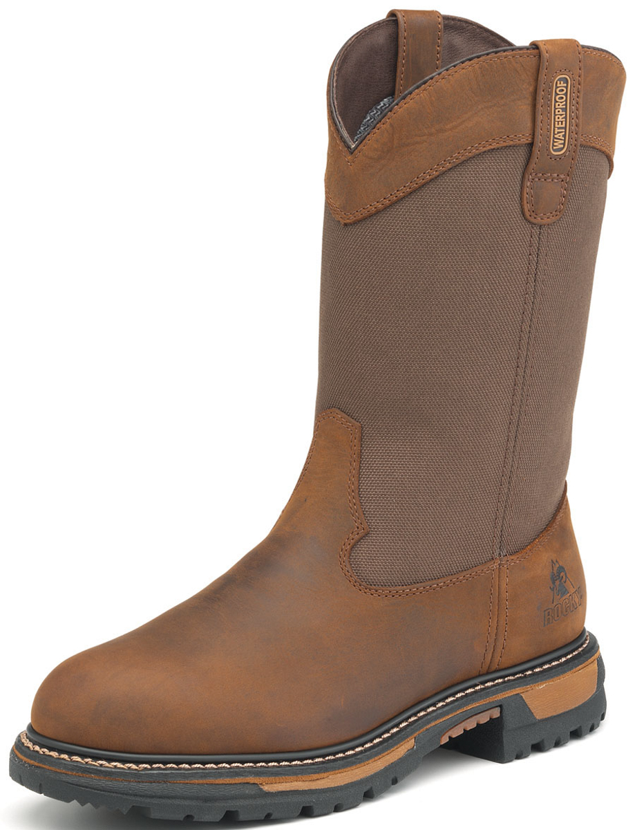 Rocky-Mens-Brown-Leather-Insulated-Waterproof-Wellington-Cowboy-Boots