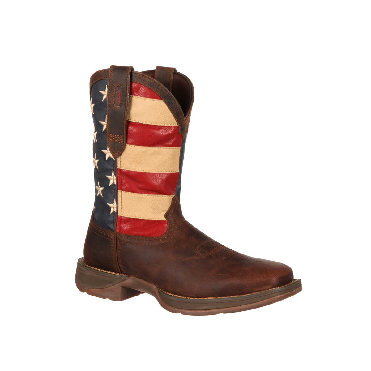 rebel by durango mens brown leather american flag cowboy