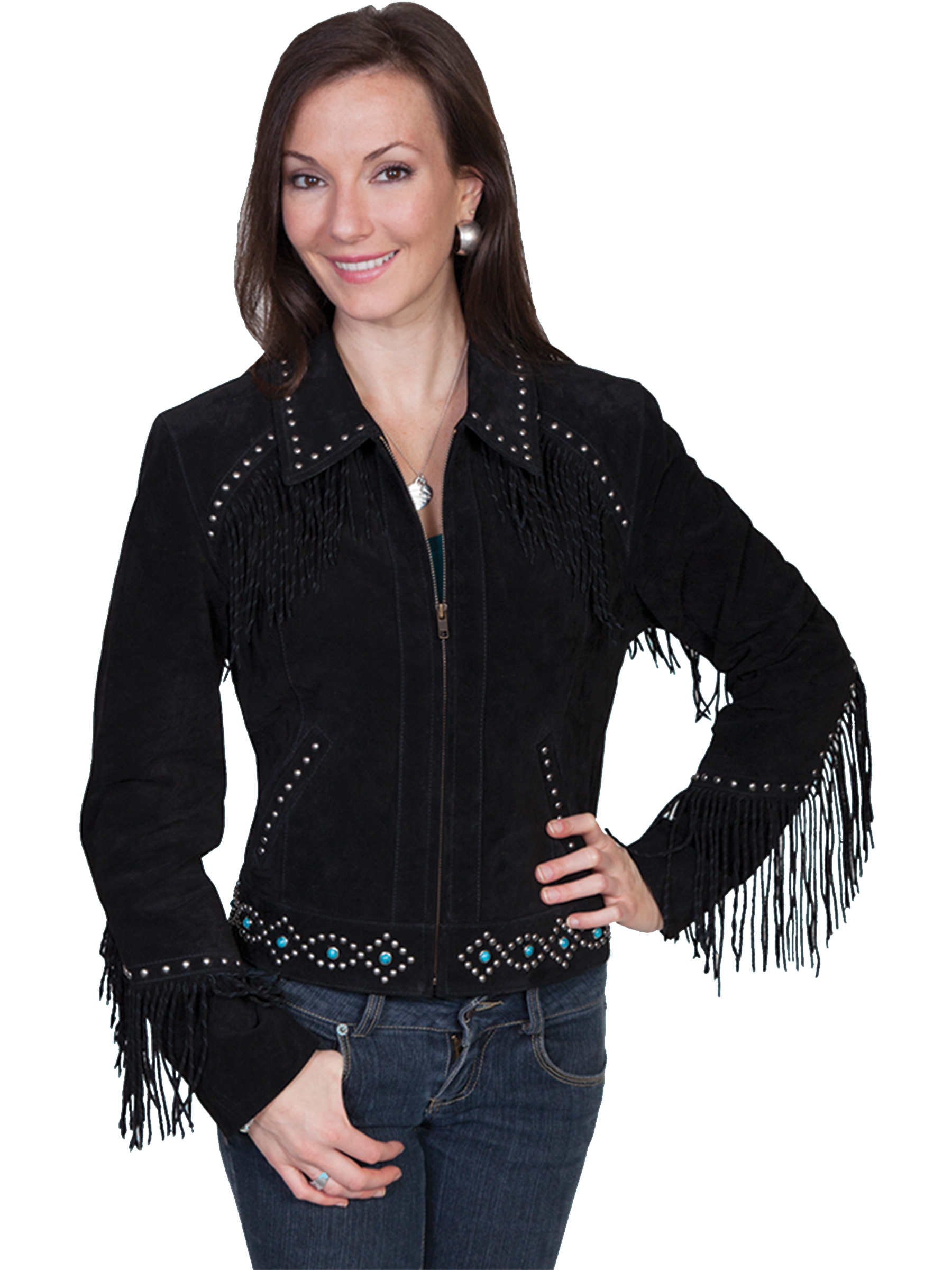 Image is loading Scully-Leather-Womens-Studded-Twisted-Fring-Boar-Suede