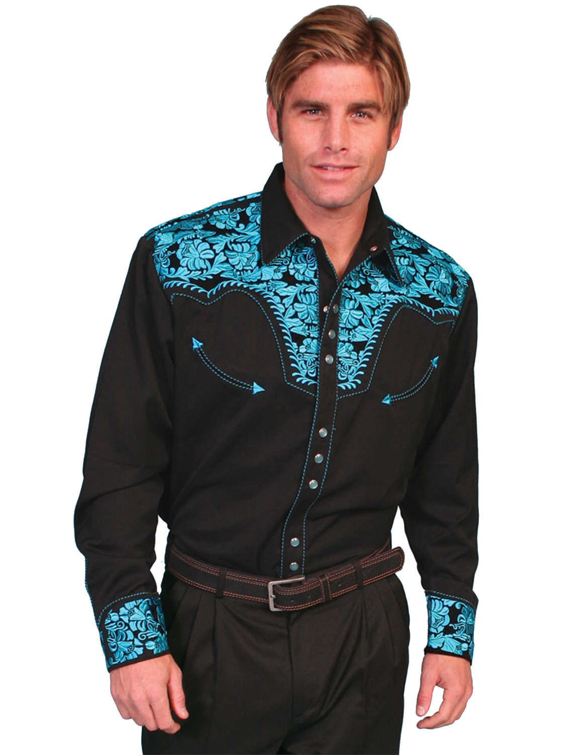 Scully Mens Shirt Western Turquoise Poly Blend Floral