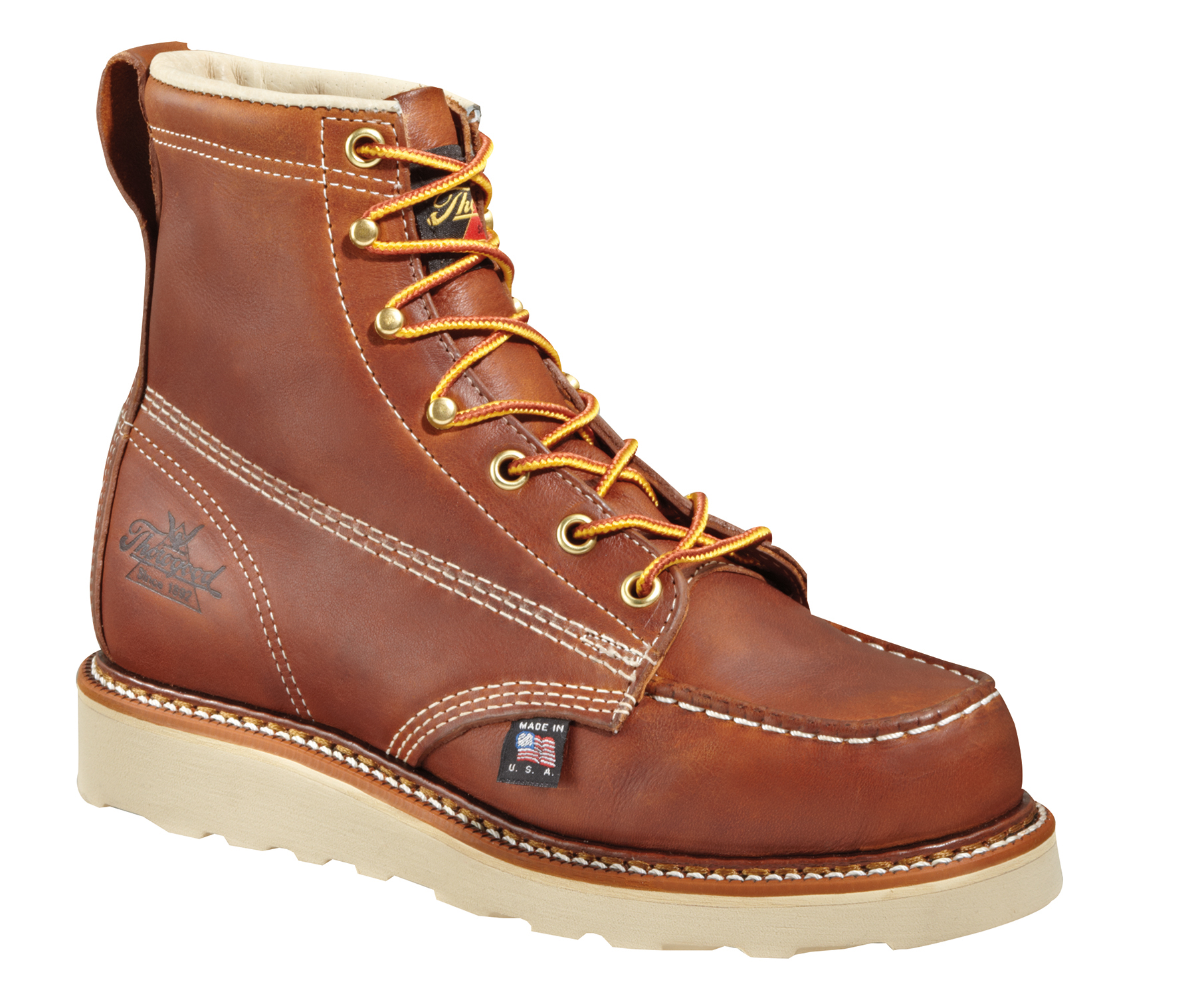 thorogood womens moc toe brown leather work boots eh wedge