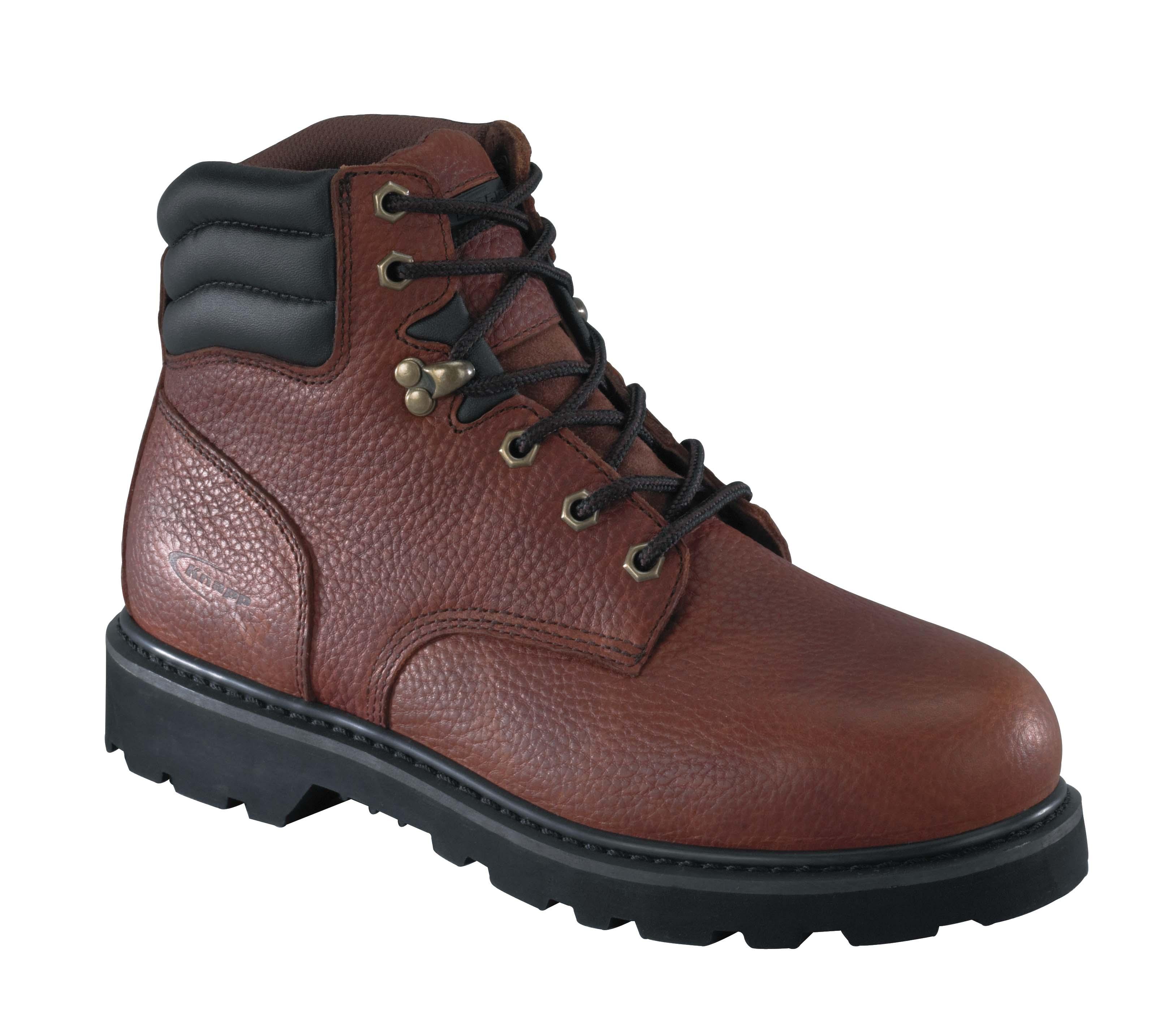 knapp mens brown leather 6in work boots backhoe steel toe