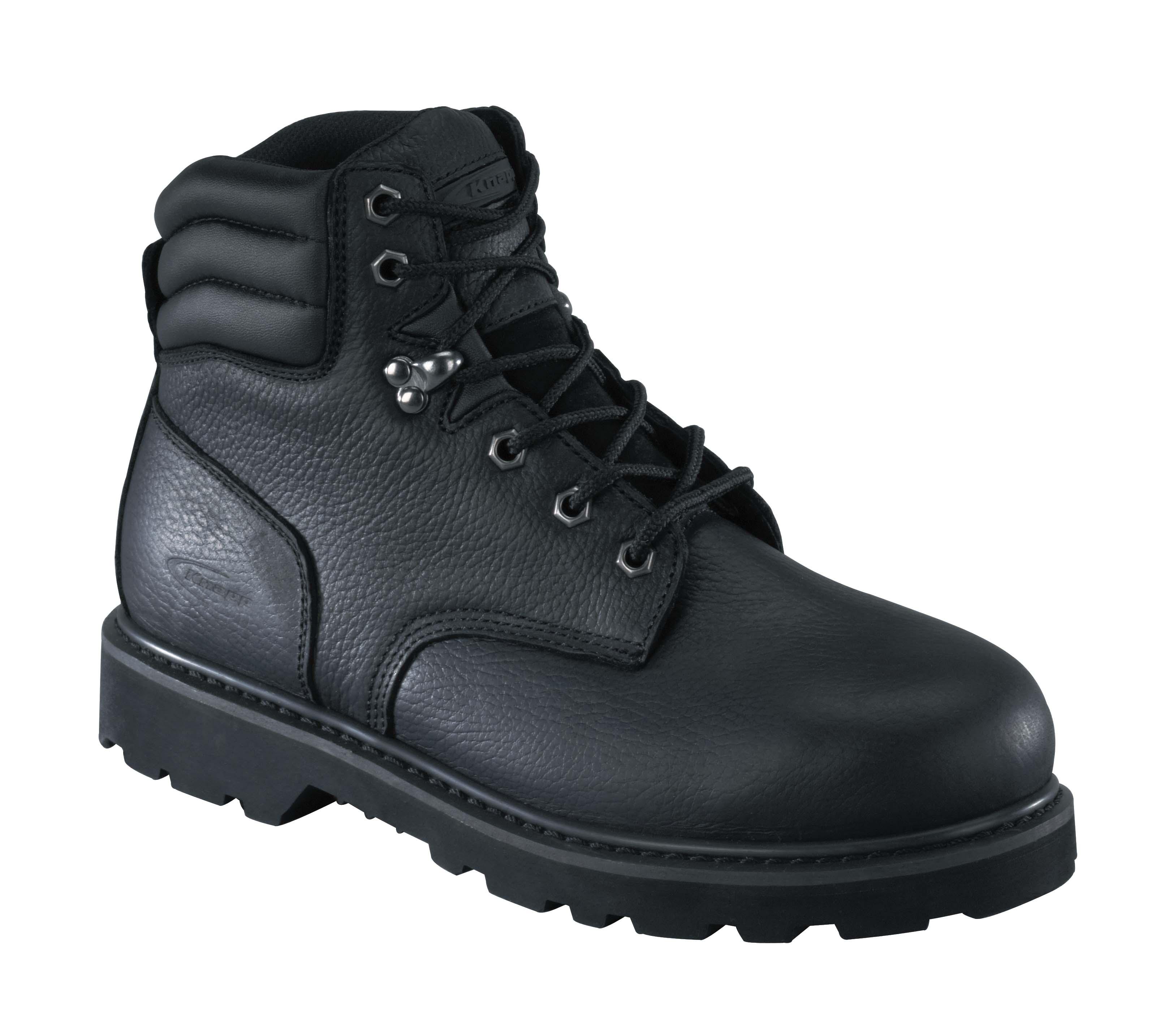 knapp mens black leather 6in work boots backhoe steel toe