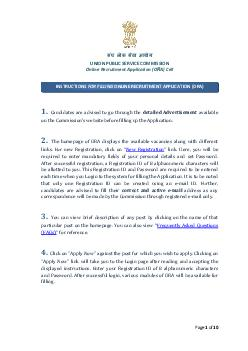 INSTRUCTIONS TO THE CANDIDATES FOR FILLING ONLINE RECRUITMENT APPLICATION ORA