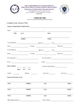 COMPLAINT FORM Incorrect Criminal Offender Record InformationTHE COMMO