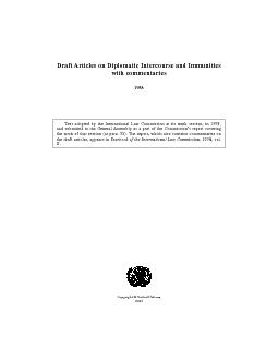 Draft Articles on Diplomatic Intercourse and Immunities 1958