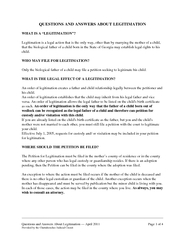Questions and Answers About Legitimation