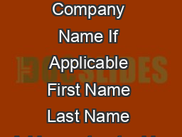 REPAIR FORM Company Name If Applicable First Name Last Name Address street addre