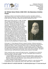 Sir William Henry Perkin (1838-1907): the Discovery of AnilinePurpleTh