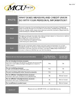 Meadowland Credit Union Privacy Policy PDF document - DocSlides