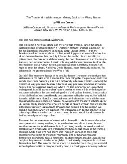 The Trouble with Wilderne ss or Getting Back to the Wrong Nature by William Cronon William Cronon ed