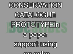 PAPER CONSERVATION CATALOGUE PROTOTYPEin a paper support using an adhe PDF document - DocSlides