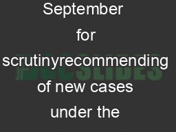Minutes of the Meeting of the Screening Committee meeti ng held on  th and  th September  for scrutinyrecommending of new cases under the sche me of grant in aid to Voluntary Organizations working for