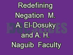 rams by Redefining Negation  M. A. El-Dosuky and A. H. Naguib  Faculty PowerPoint PPT Presentation