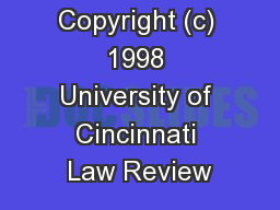 Copyright (c) 1998 University of Cincinnati Law Review