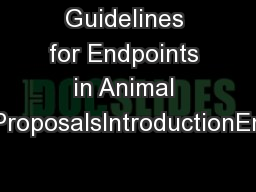 Guidelines for Endpoints in Animal Study ProposalsIntroductionEndpoint