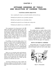 OFFHAND GRINDING OF TOOLSAND SELECTION OF CARBIDE TOOLING