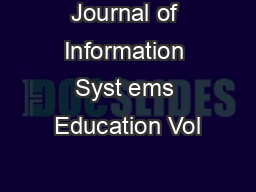 Journal of Information Syst ems Education Vol